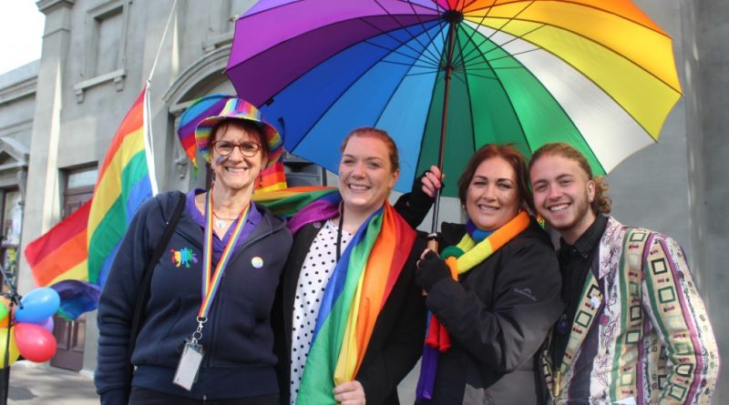 Mez Lanigan, Chloe McKenzie, Jenny Cowan and guest speaker Nevo Zisin at a past local IDAHOBIT celebration.