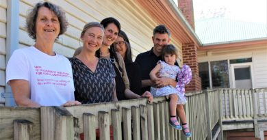 Macedon residents have something to celebrate with strong prospects for a Neighbourhood House at 47 Victoria Street. Pictured are Karen Goltz, Samara Hodson, Elizabeth Barnett, Jennifer Brusley and Blake Byron-Smith with daughter Beatrice.