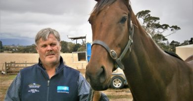 Contentment: Mark Ashby and Geraldine's Jewel after the big win at Sandown. Photo: Bill West