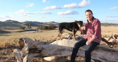 Sidonia Beef Naturally farmer Sam White with his canine companion Ruby.